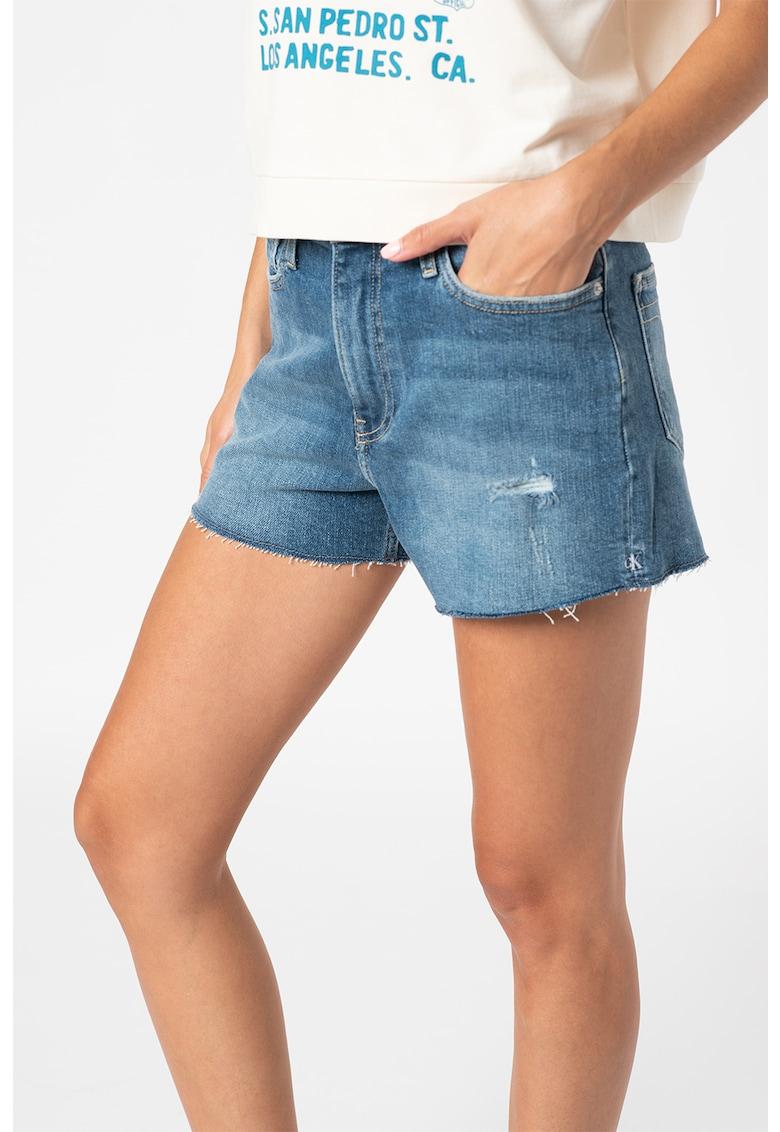 Pantaloni scurti din denim cu aspect decolorat