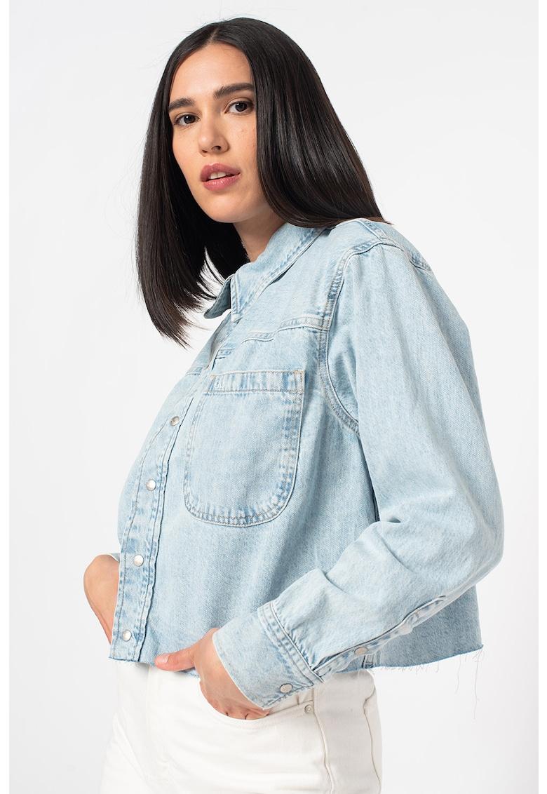 Jacheta de denim cu model crop imagine fashiondays.ro 2021