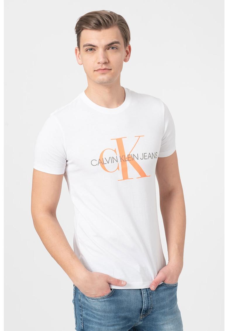 Tricou de bumbac organic cu imprimeu logo supradimensionat