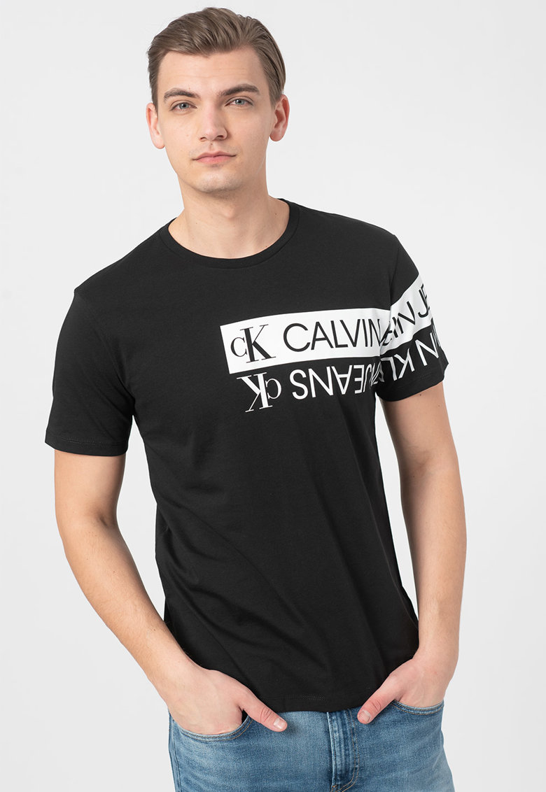 Tricou de bumbac organic cu imprimeu logo Bărbați imagine