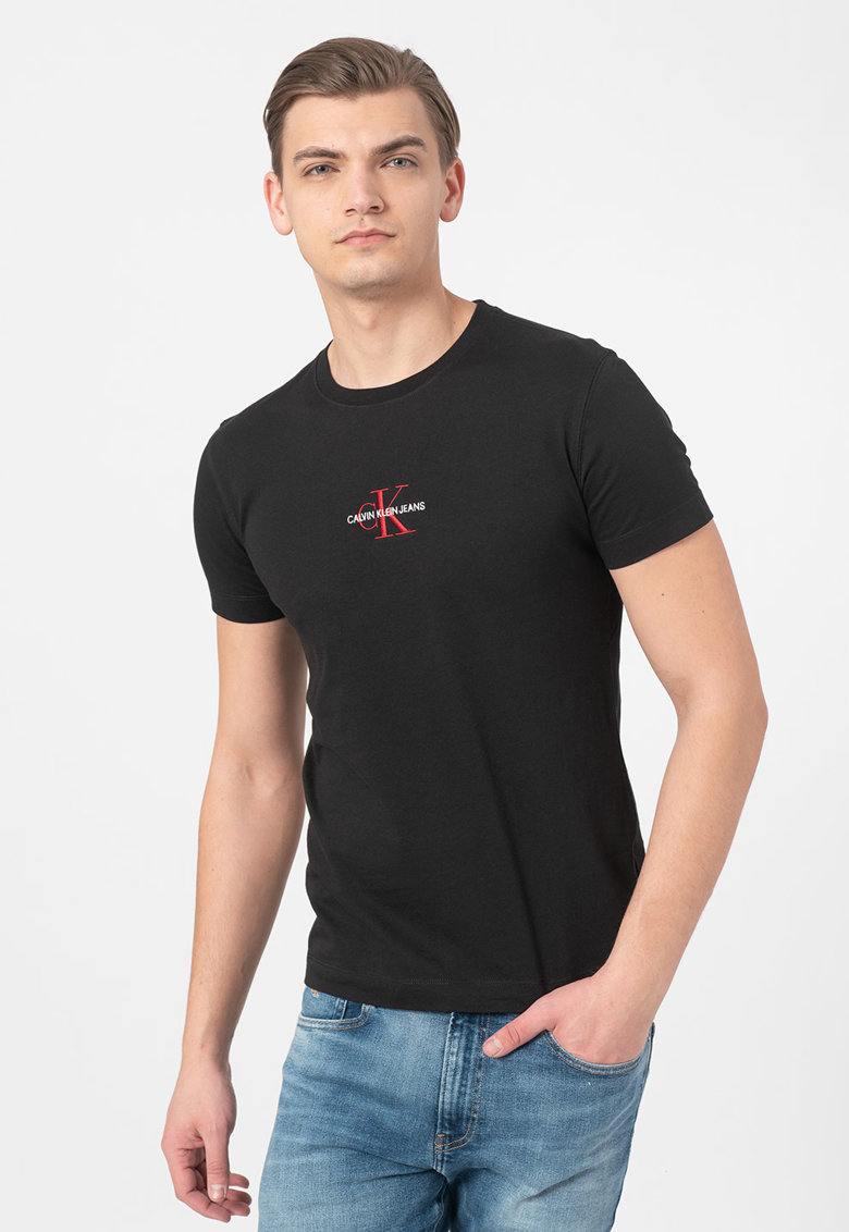 Tricou de bumbac organic cu logo brodat Bărbați imagine