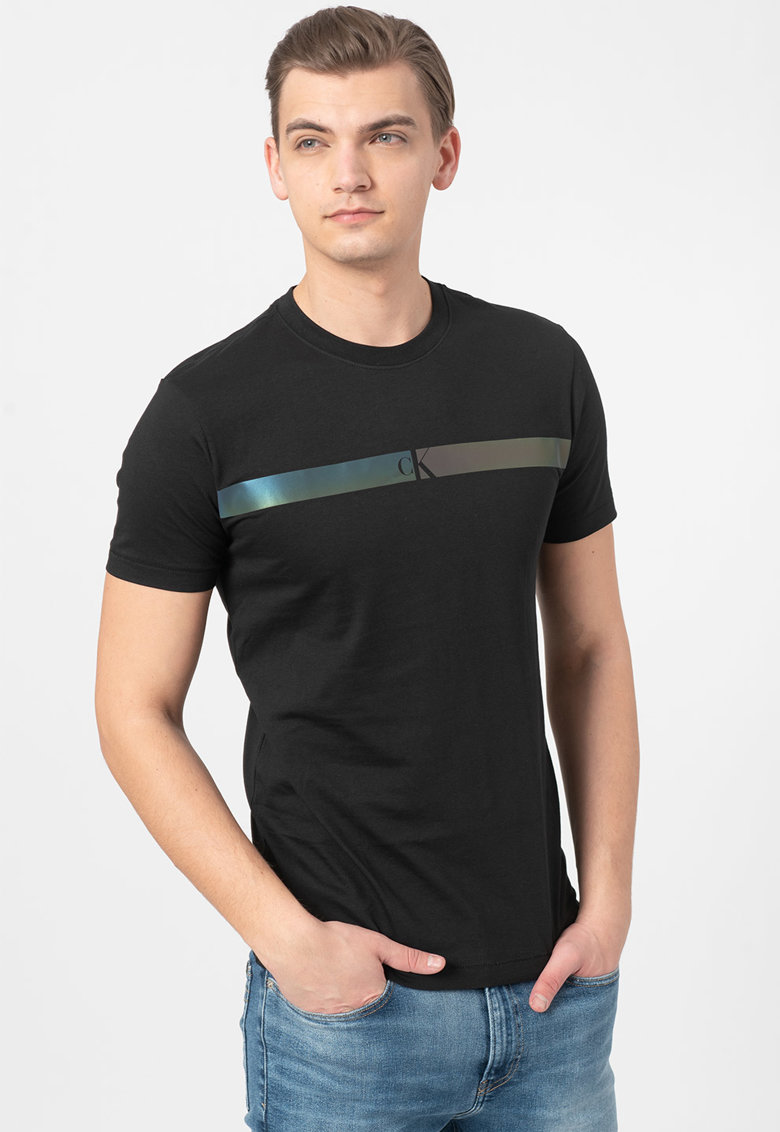 Tricou de bumbac organic cu detaliu peliculizat Bărbați imagine