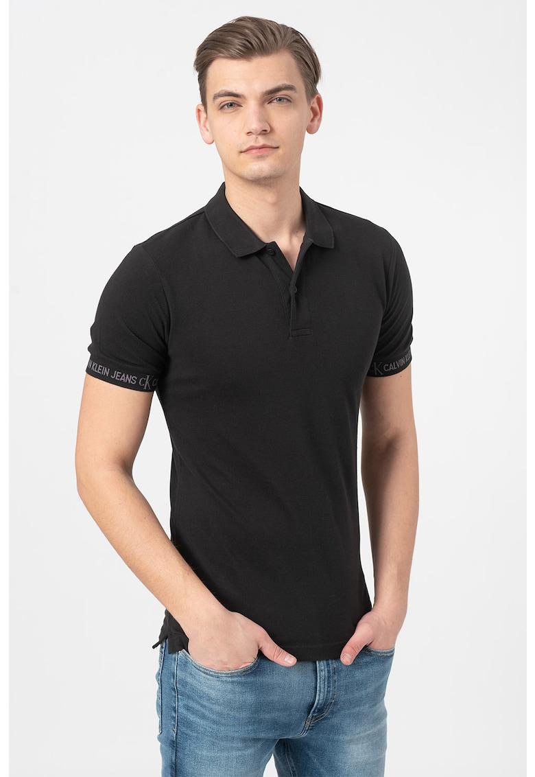 Tricou polo slim fit cu logo Bărbați imagine