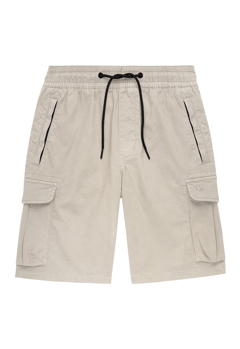 Pantaloni scurti cargo regular fit cu snur in talie