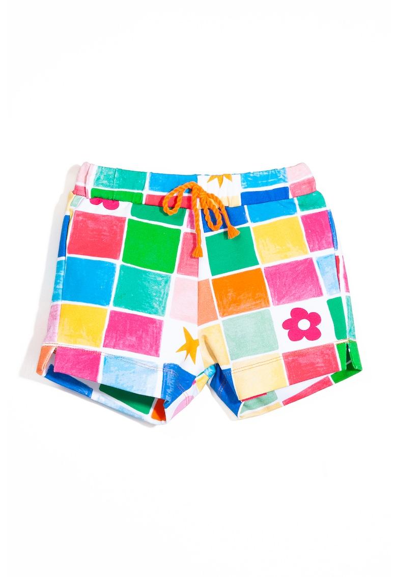 Pantaloni scurti cu model colorblock si snururi in talie imagine fashiondays.ro 2021