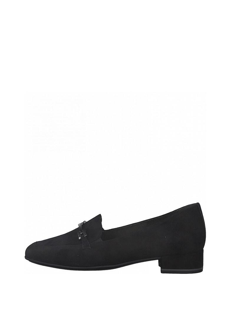 Pantofi de piele nabuc cu toc masiv imagine
