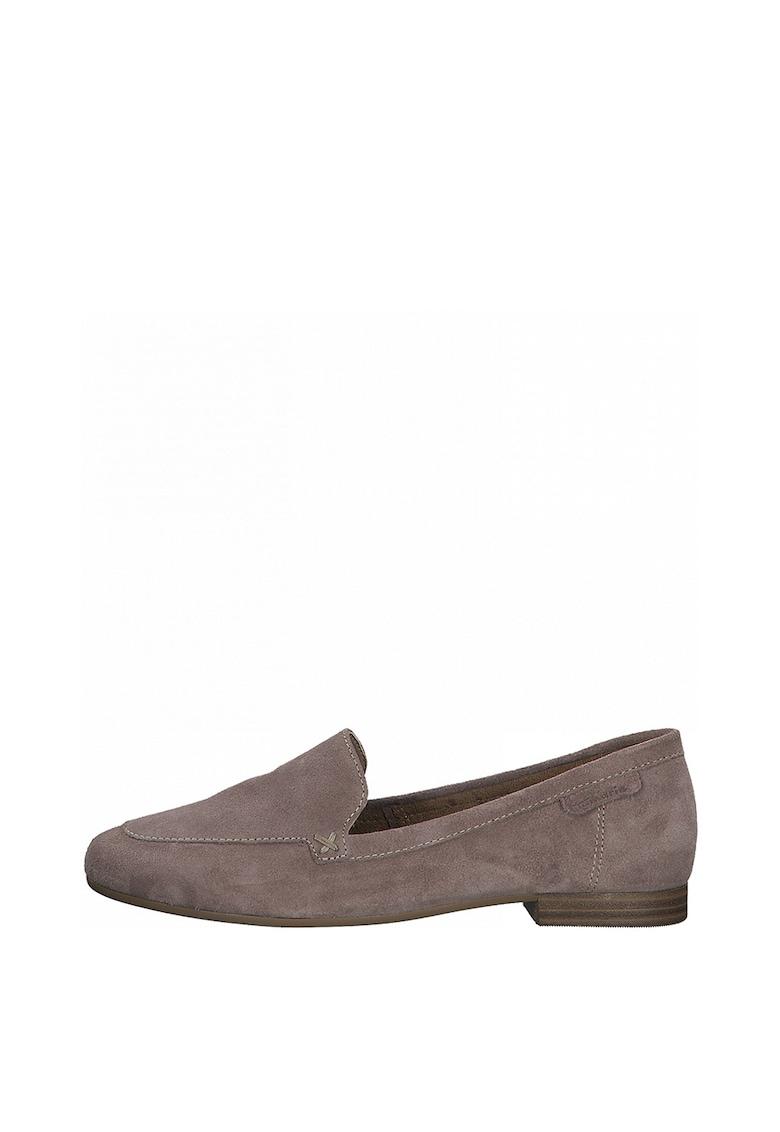 Pantofi loafer de piele intoarsa cu varf rotund Tamaris fashiondays.ro