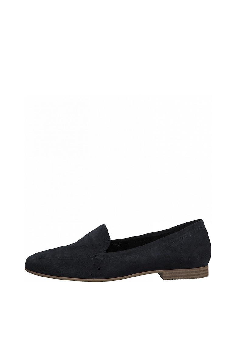 Pantofi loafer de piele intoarsa cu varf rotund