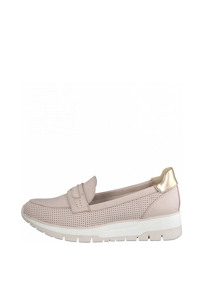 Pantofi loafer de piele si piele ecologica - cu perforatii Tamaris fashiondays.ro