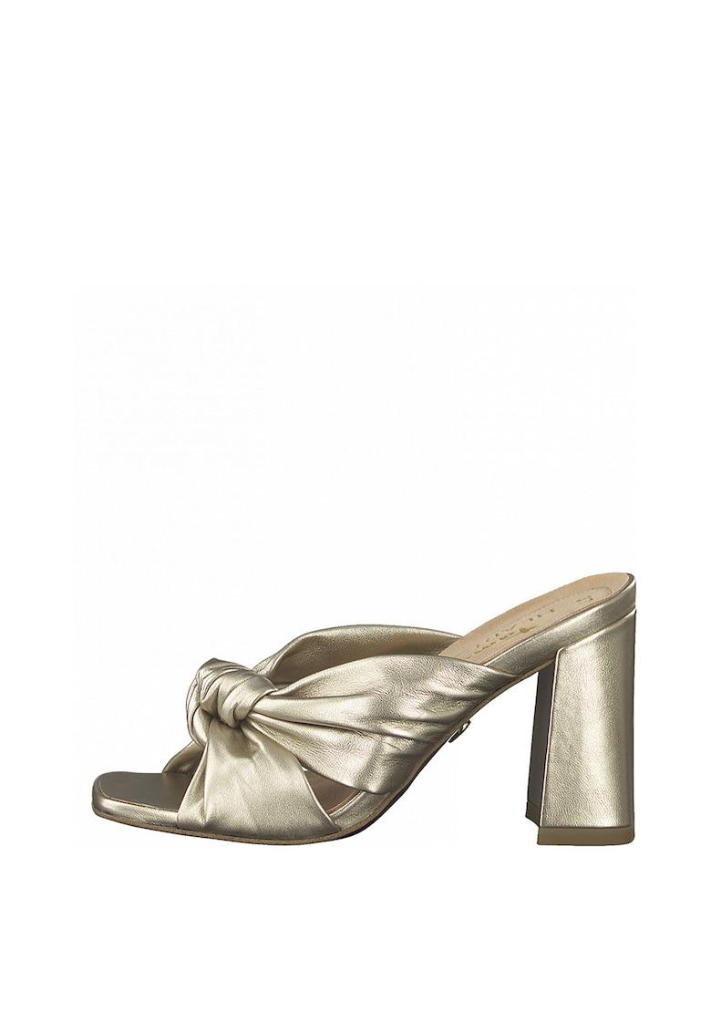 Papuci de piele - cu toc si aspect metalizat