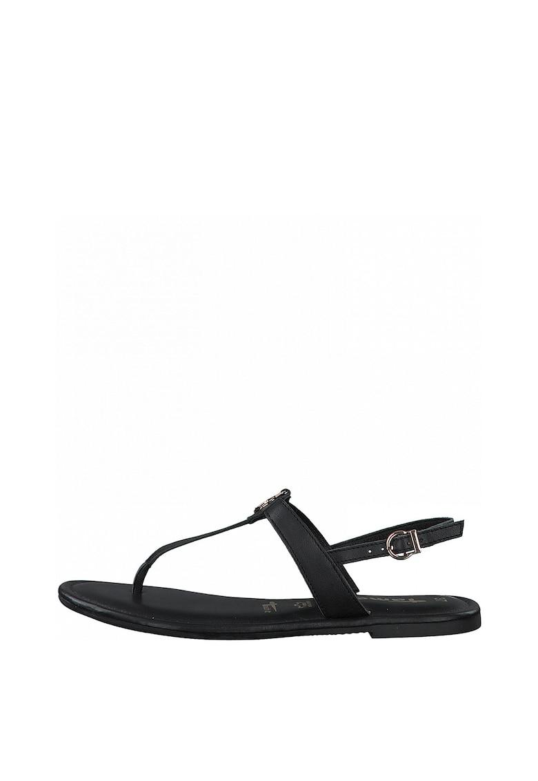 Sandale de piele cu bareta separatoare si logo metalic de la Tamaris