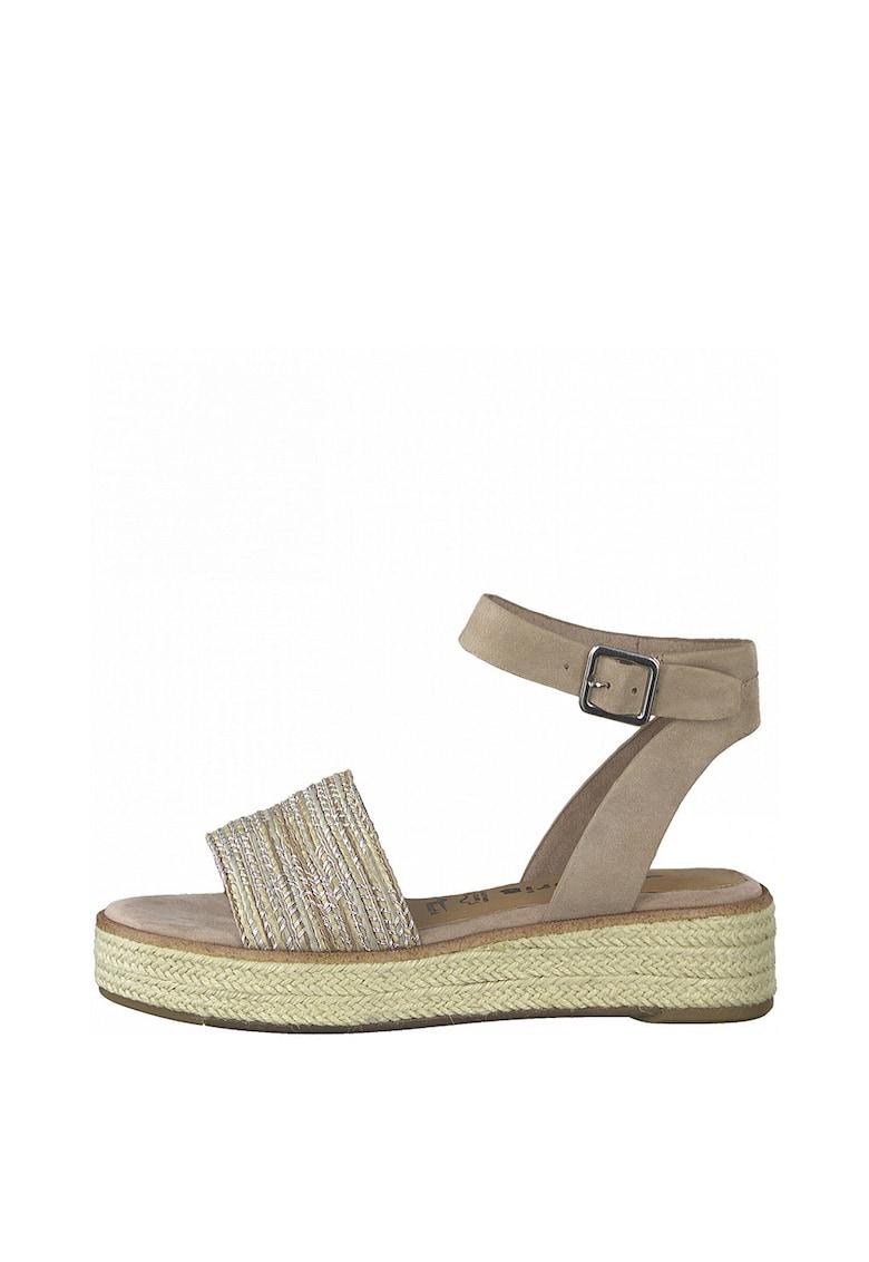 Sandale wedge tip espadrile cu garnituri de piele