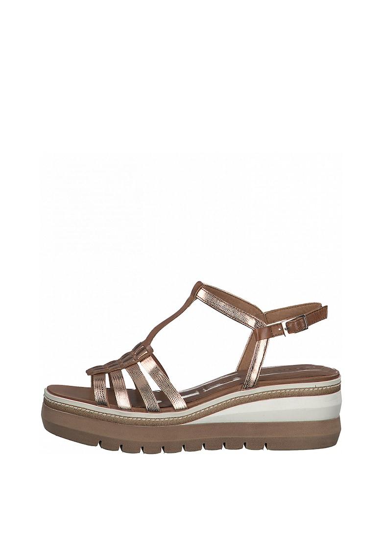 Sandale de piele si piele ecologica cu bareta T