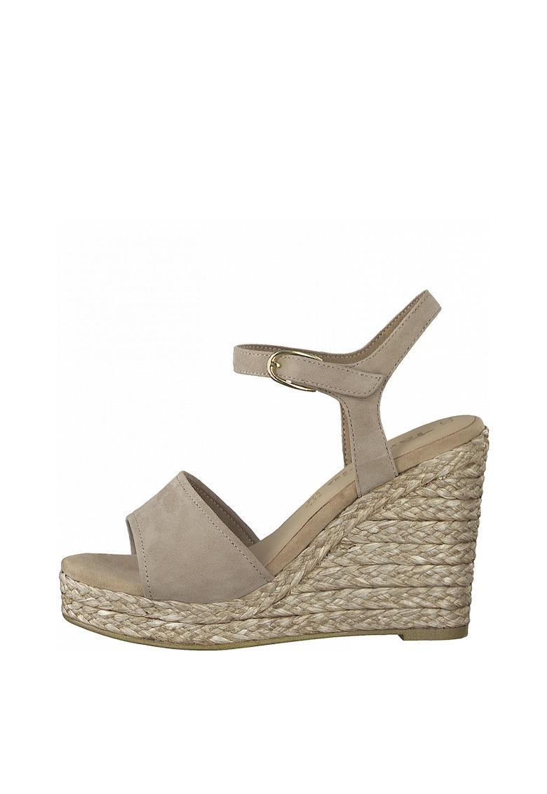 Sandale wedge tip espadrile de piele intoarsa