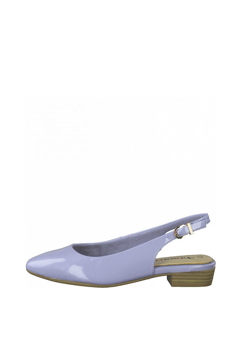 Pantofi slingback de piele ecologica cu toc masiv imagine