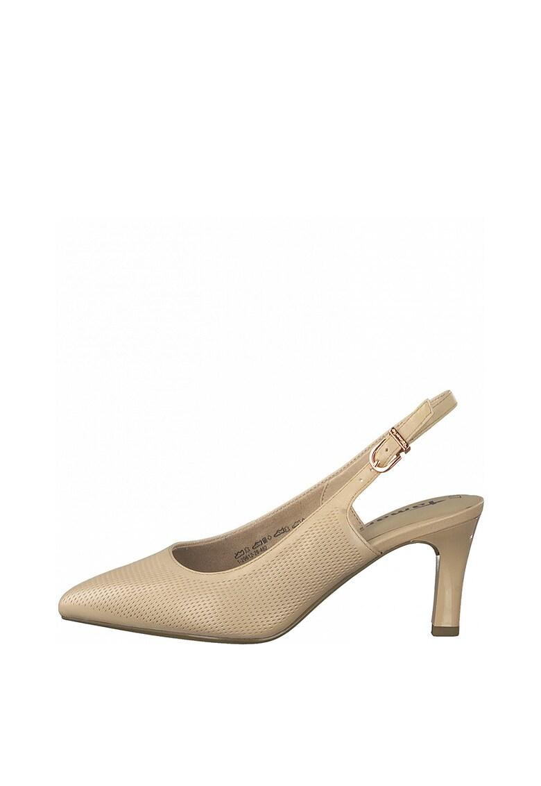 Pantofi slingback de piele cu aspect perforat imagine