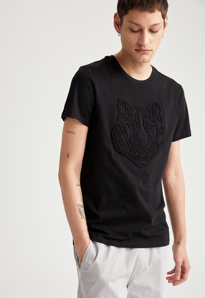 Tricou din bumbac cu imprimeu stantat de la DeFacto