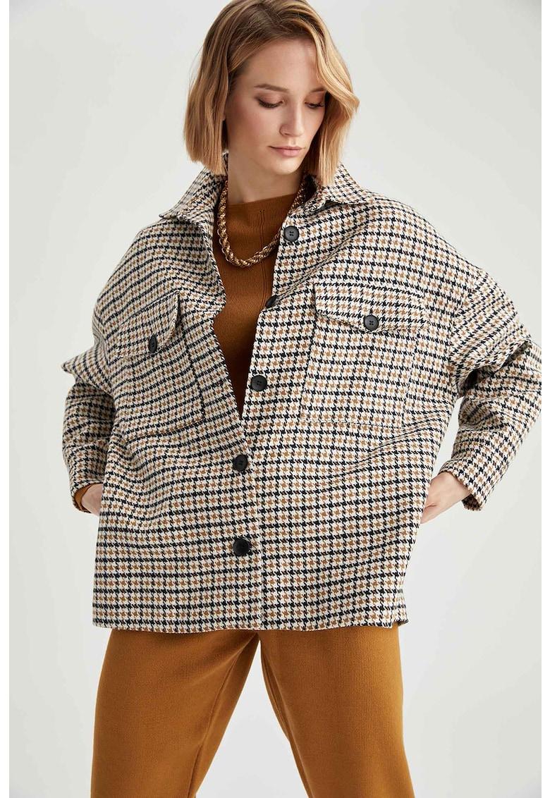 Palton cu model houndstooth supradimensionat poza fashiondays