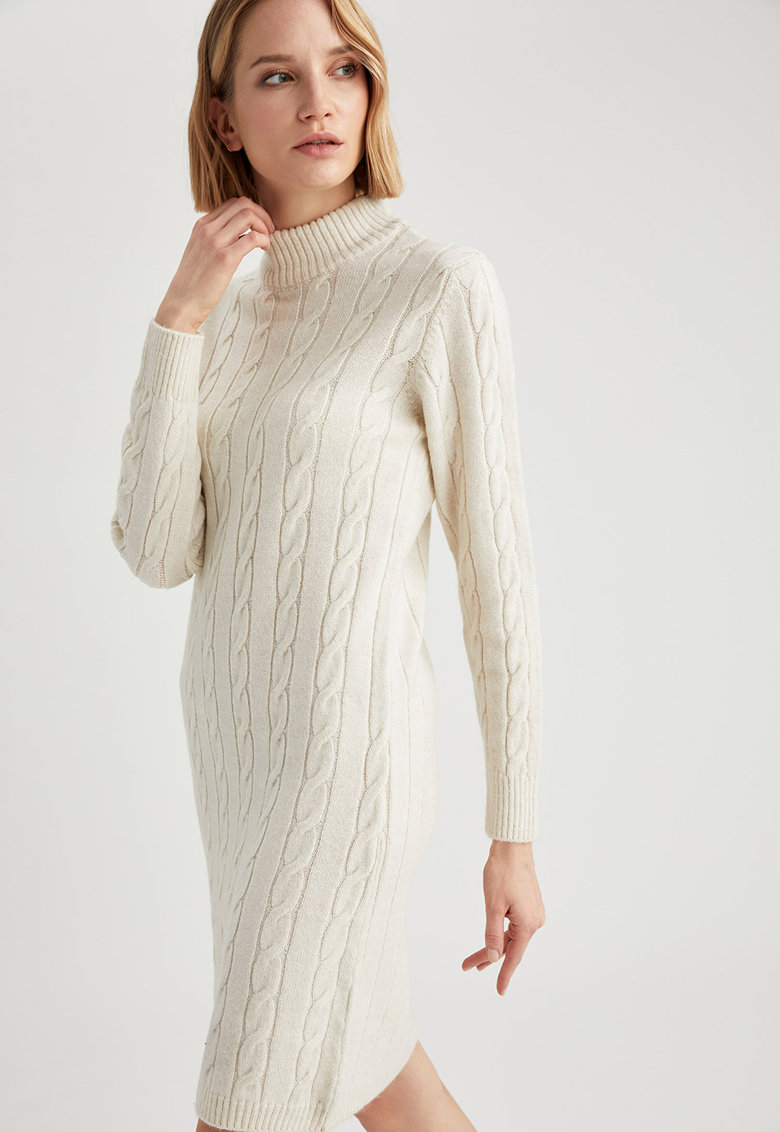 Rochie tip pulover cu model torsade imagine promotie