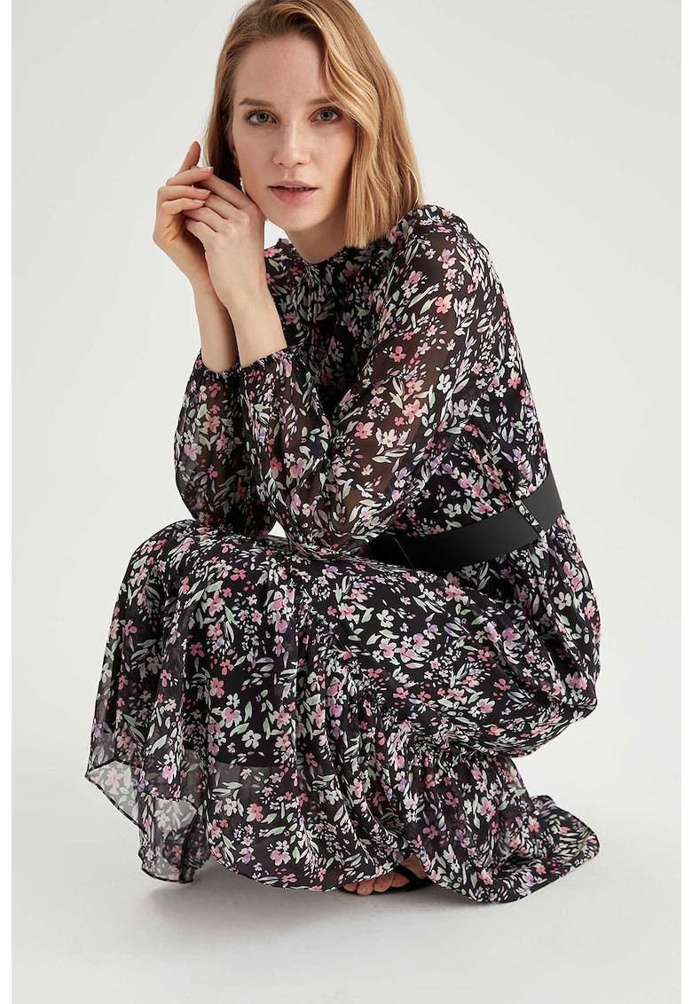 Rochie midi evazata cu imprimeu floral imagine promotie