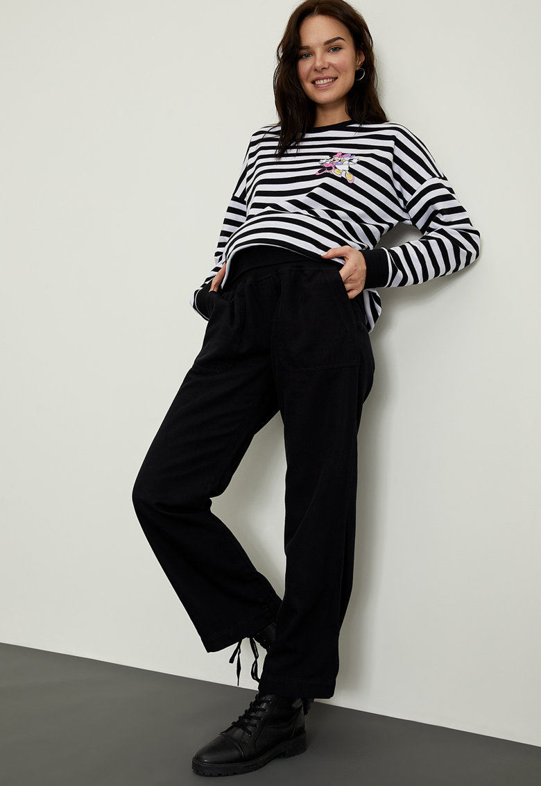 Pantaloni din amestec de lyocell cu croiala ampla pentru gravide imagine promotie