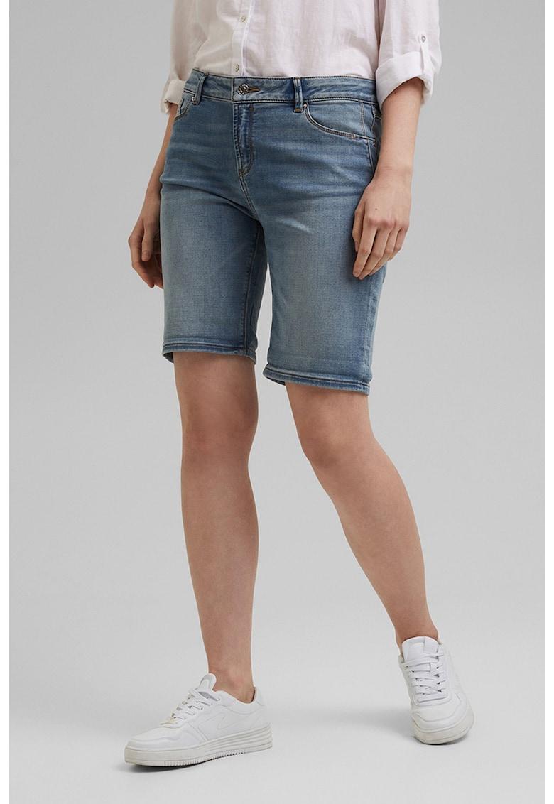 Pantaloni scurti de denim cu aspect decolorat