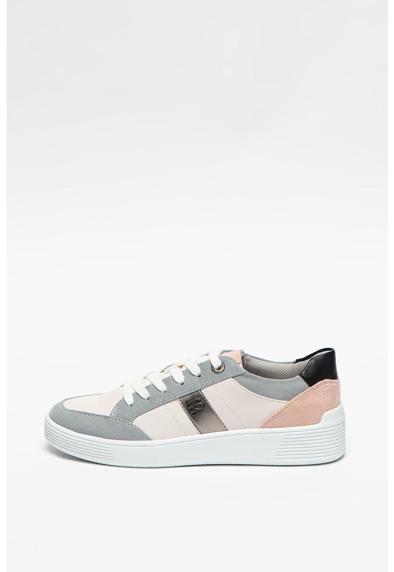 Pantofi sport cu detalii de piele intoarsa ecologica
