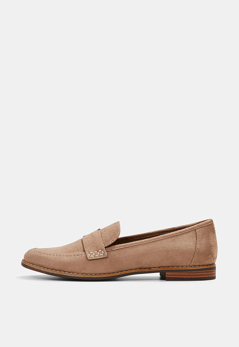 Pantofi loafer de piele intoarsa ecologica cu varf rotund imagine fashiondays.ro 2021