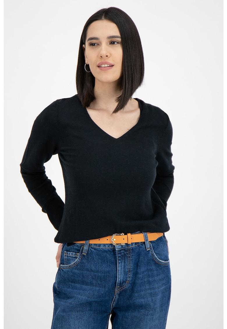 Pulover tricotat fin - din amestec de bumbac organic imagine promotie