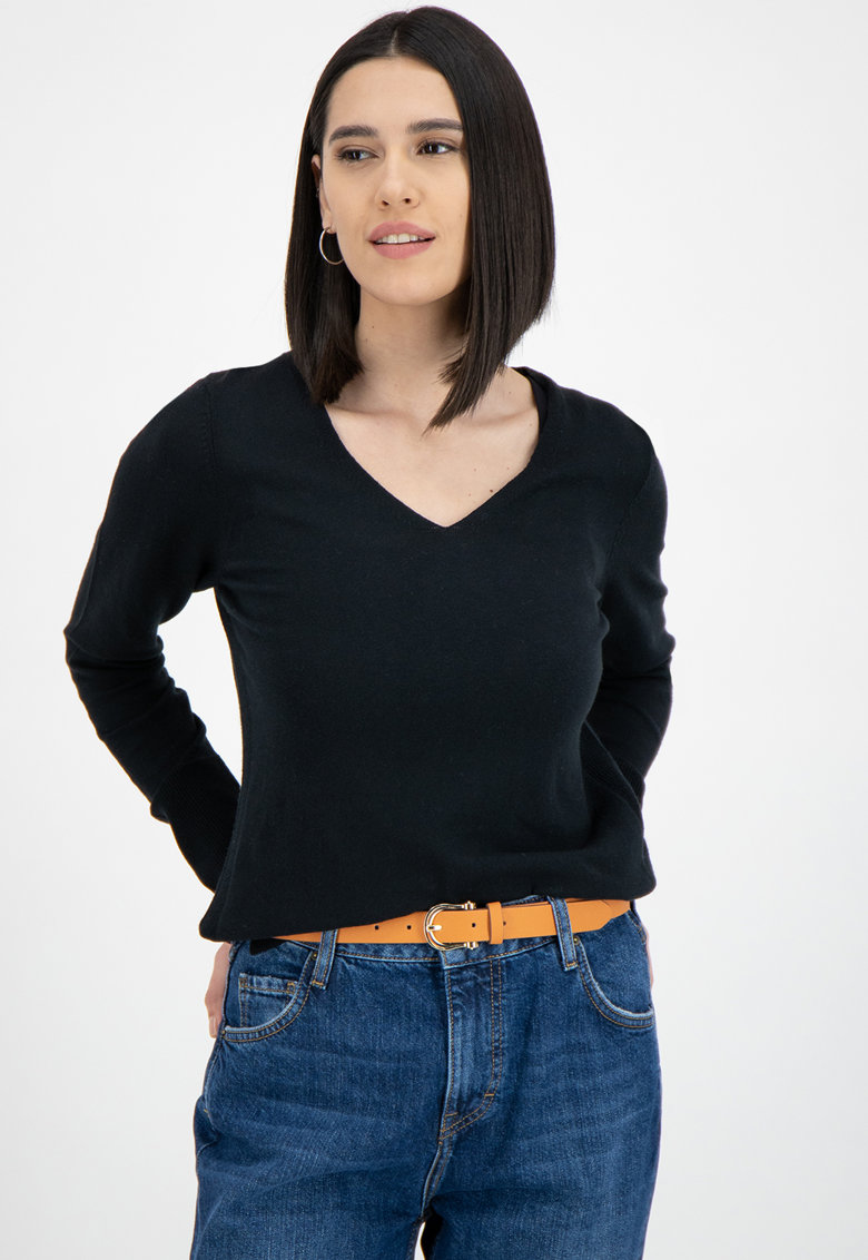 Pulover tricotat fin - din amestec de bumbac organic