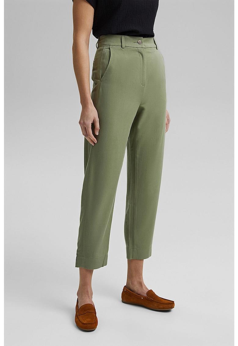 Esprit Pantaloni chino crop din amestec de lyocell