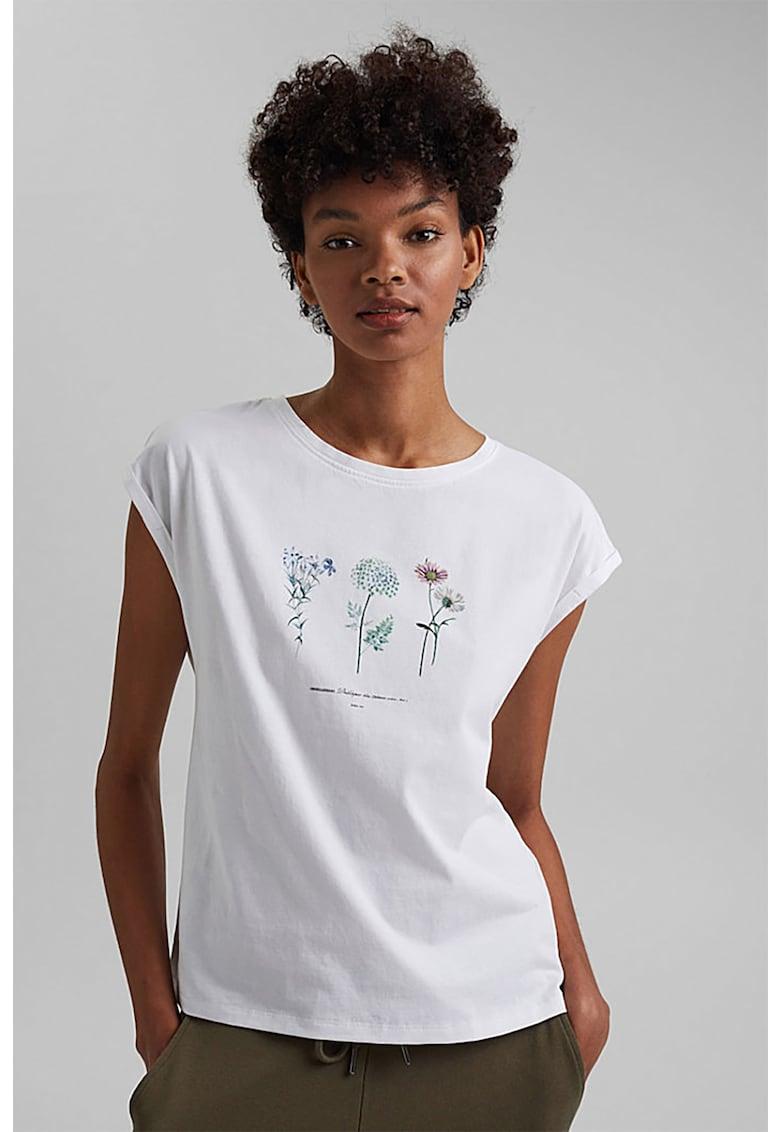 Tricou de bumbac organic cu imprimeu floral imagine fashiondays.ro