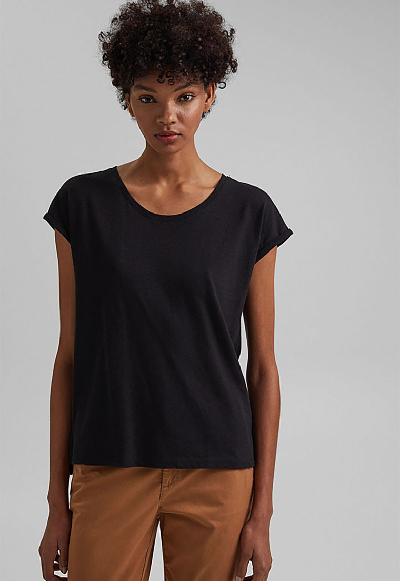 Tricou din amestec de in cu terminatie asimetrica EDC by Esprit fashiondays.ro