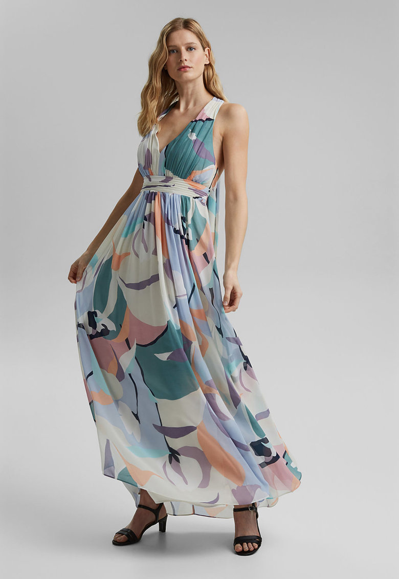 Rochie maxi de sifon cu imprimeu si model halter