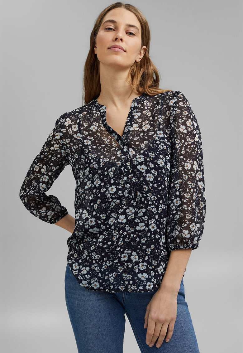 Bluza de sifon cu model floral