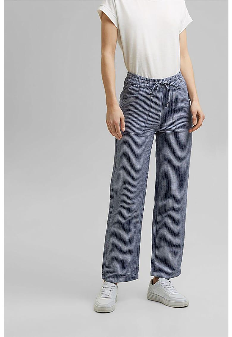 Pantaloni din amestec de in cu imprimeu in dungi