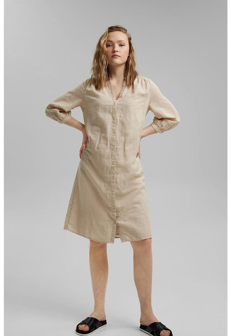 Rochie tunica din amestec de in cu un cordon