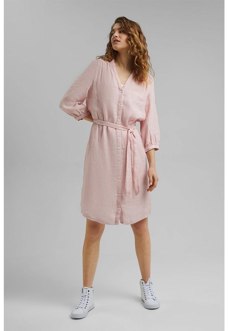 Rochie tunica din amestec de in cu dungi discrete
