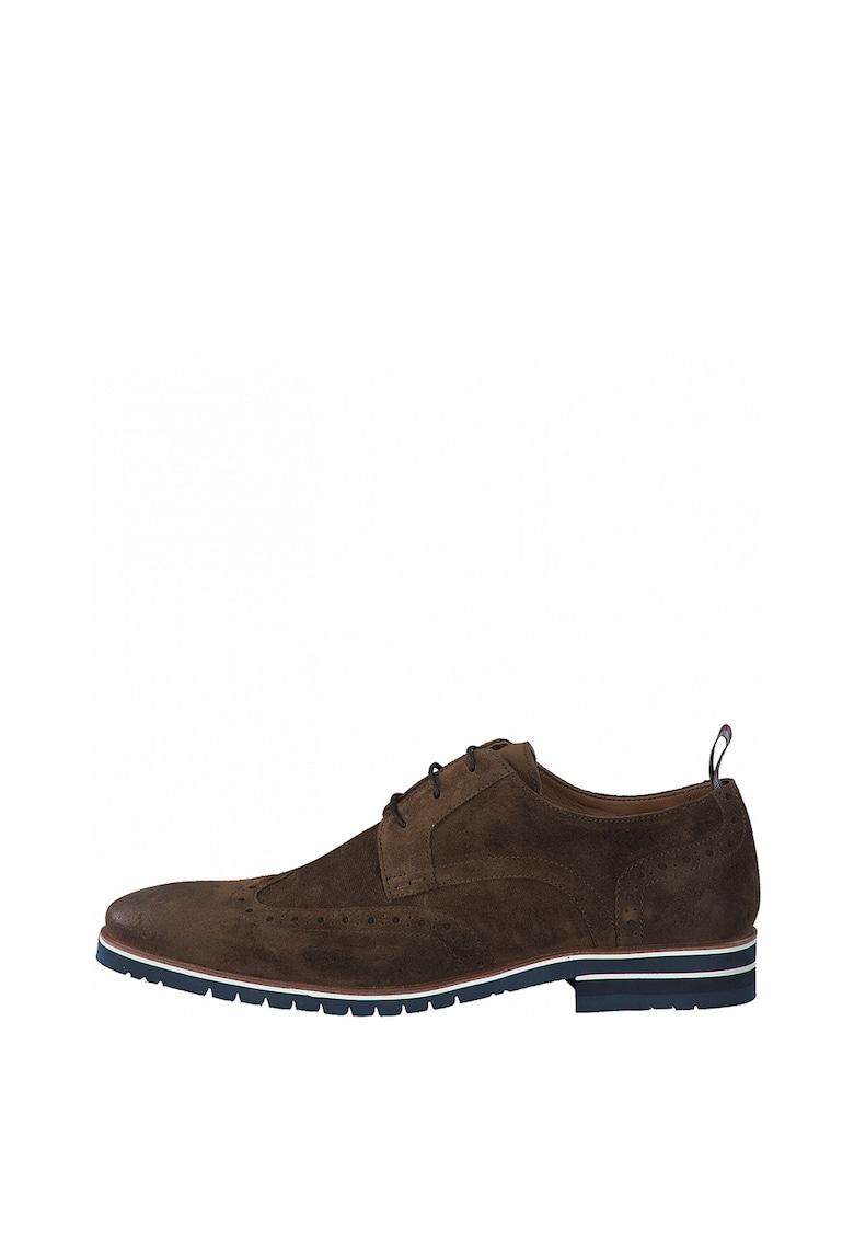 Pantofi derby de piele intoarsa cu talpa contrastanta de la sOliver