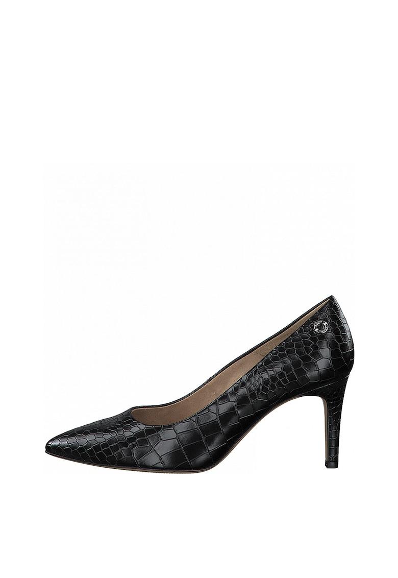 Pantofi de piele ecologica cu varf ascutit si aspect de piele de crocodil de la sOliver