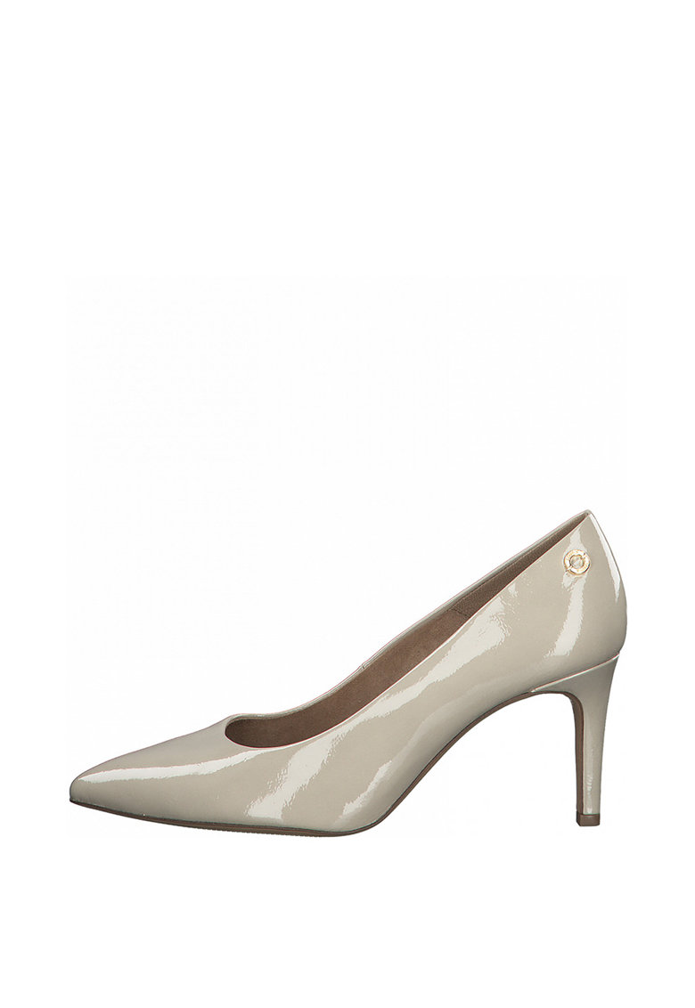 Pantofi de piele ecologica cu varf ascutit si aspect lacuit s.Oliver fashiondays.ro