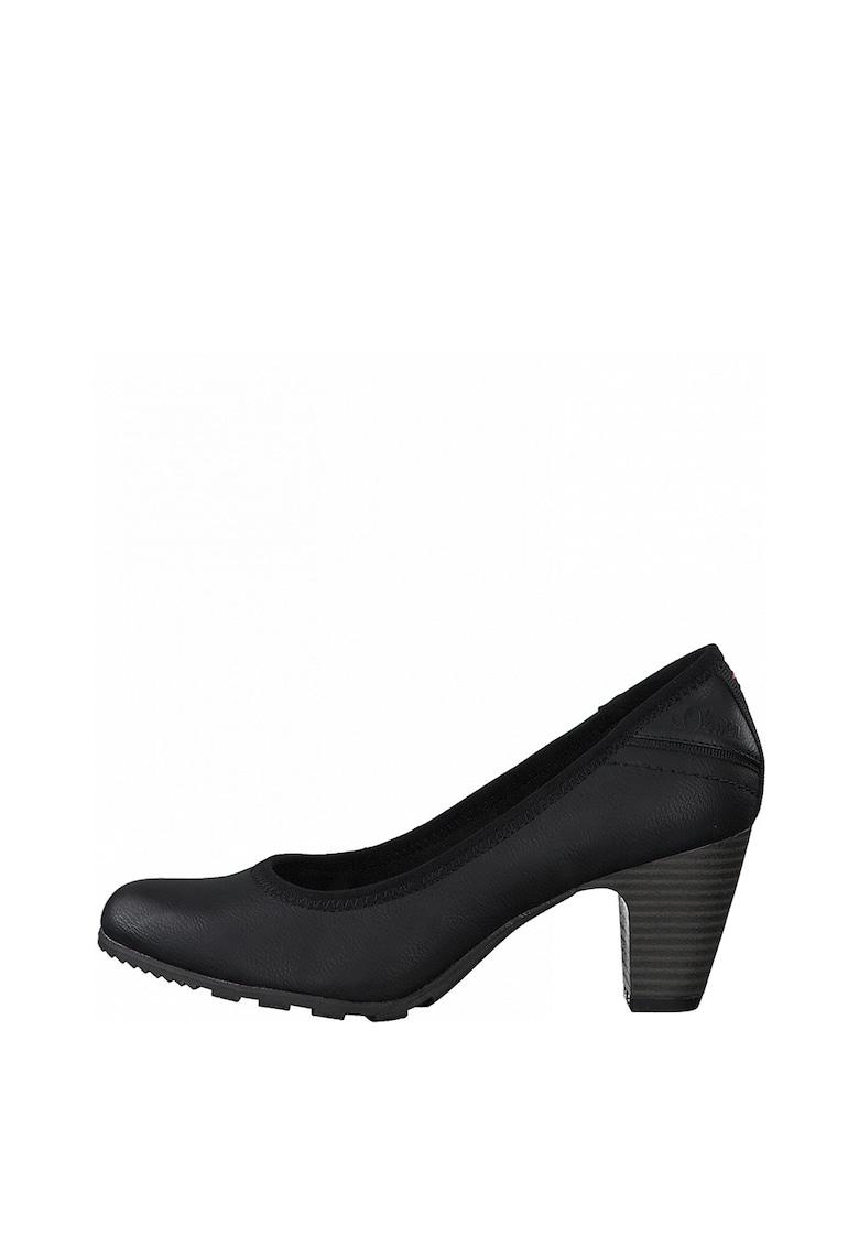 Pantofi de piele ecologica cu toc masiv s.Oliver fashiondays.ro