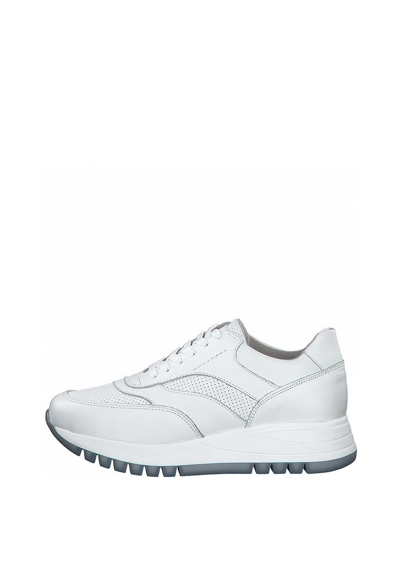 Pantofi sport din piele intoarsa si piele ecologica cu detalii perforate