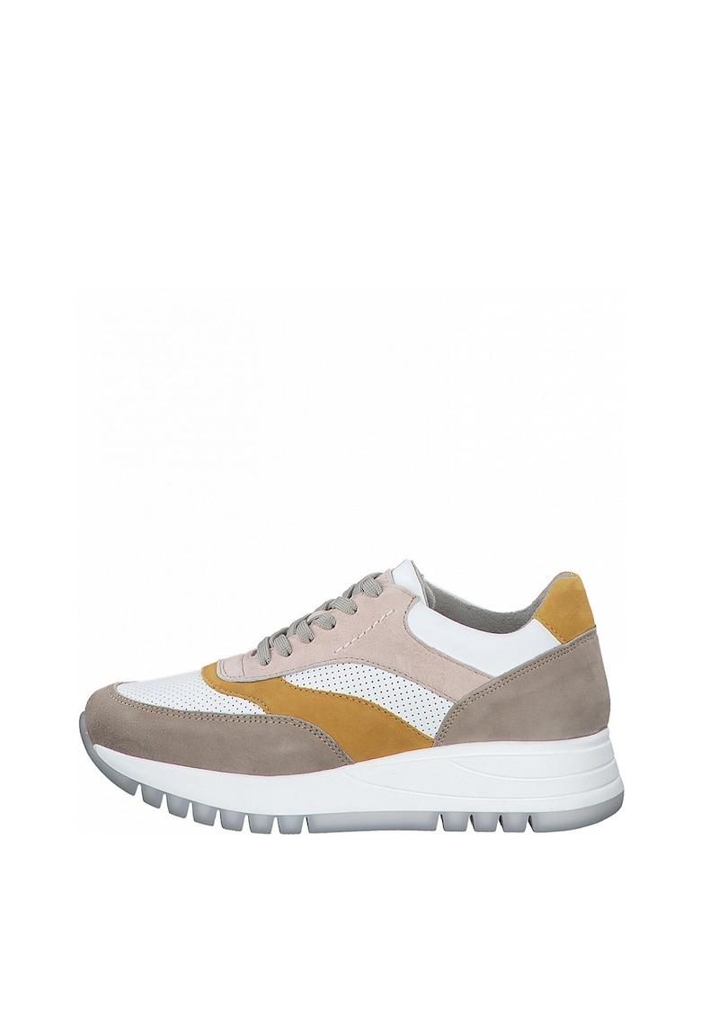 Pantofi sport din piele intoarsa si piele ecologica cu detalii perforate imagine