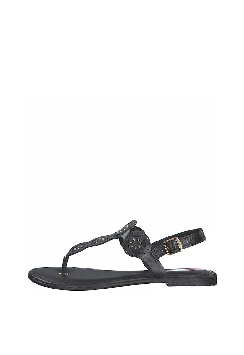 sOliver Sandale de piele cu bareta separatoare si decupaje