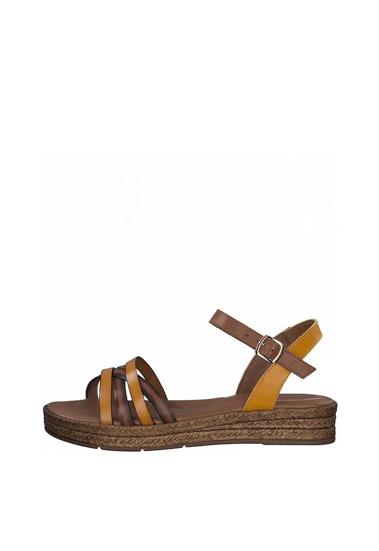 Sandale tip espadrile din piele cu talpa wedge