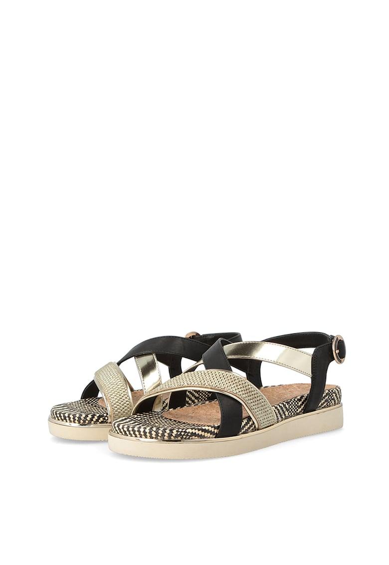 Sandale de piele ecologica si material textil Karen