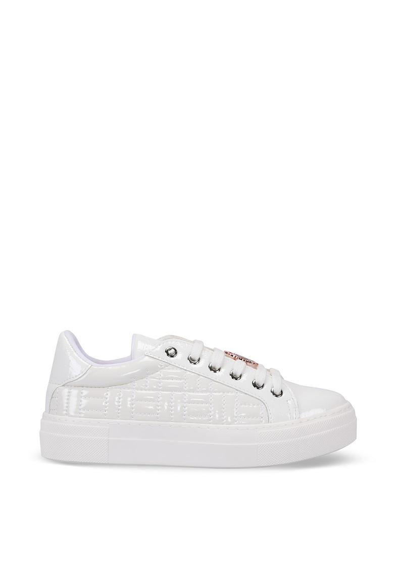 Pantofi sport din piele ecologica cu cusaturi decorative