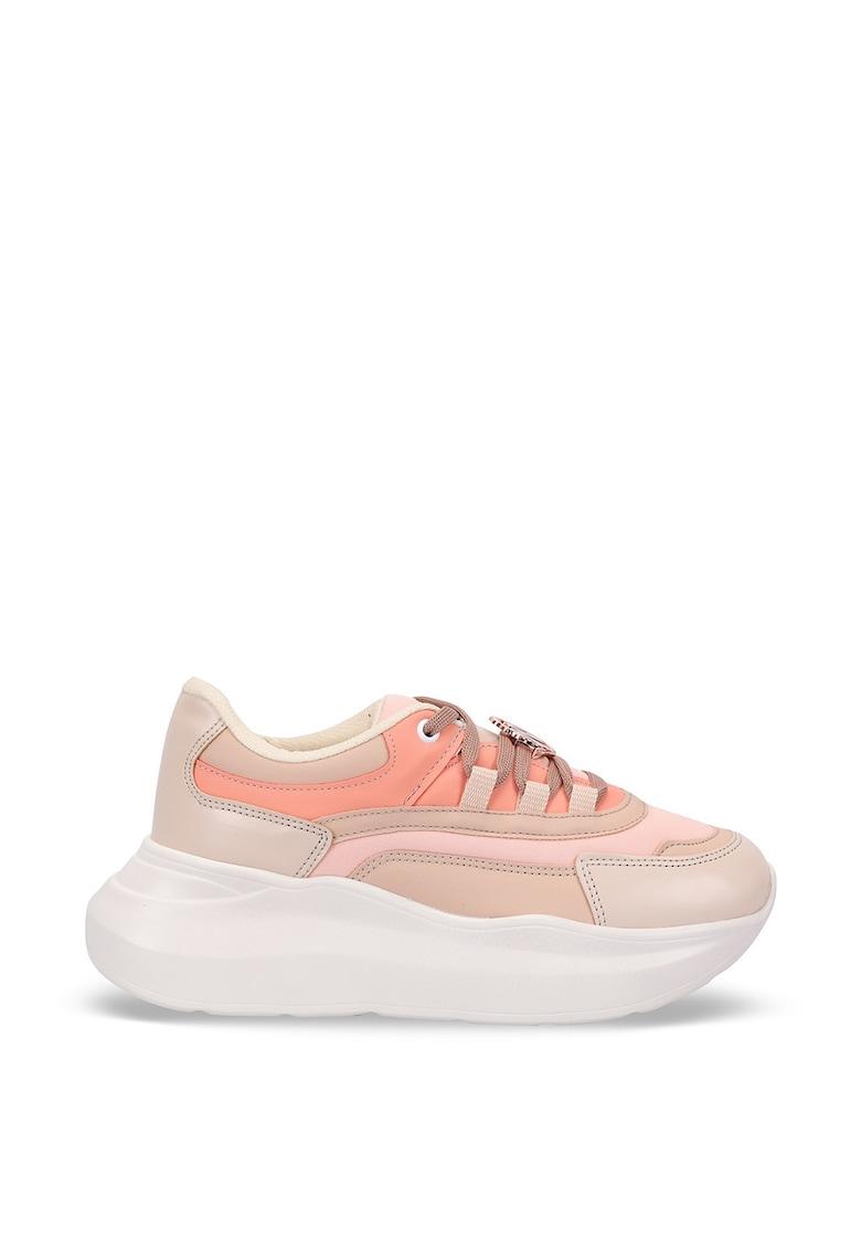 Pantofi sport din piele ecologica cu talpa flatform