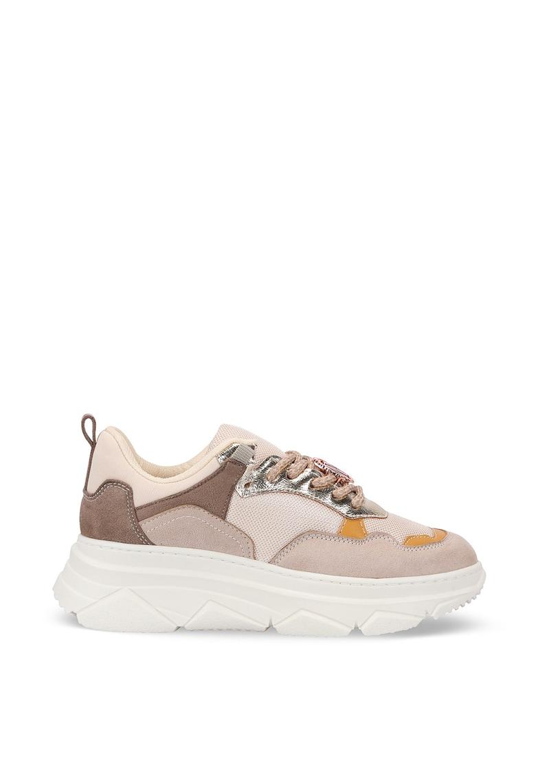 Pantofi sport din plasa cu talpa wedge si model colorblock